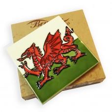 """Benaya Welsh Flag Tile Coaster - 4"""" X 4"""""""