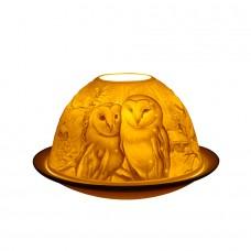 Light Glow Barn Owls Tealight Candle Holder